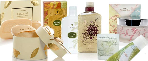 Thymes Soaps, Thymes Lotions, Thymes Eucalyptus, Thymes Goldleaf and more.